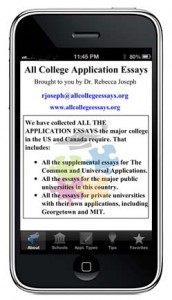 All College Application Essays App available for Iphones and Android Devices