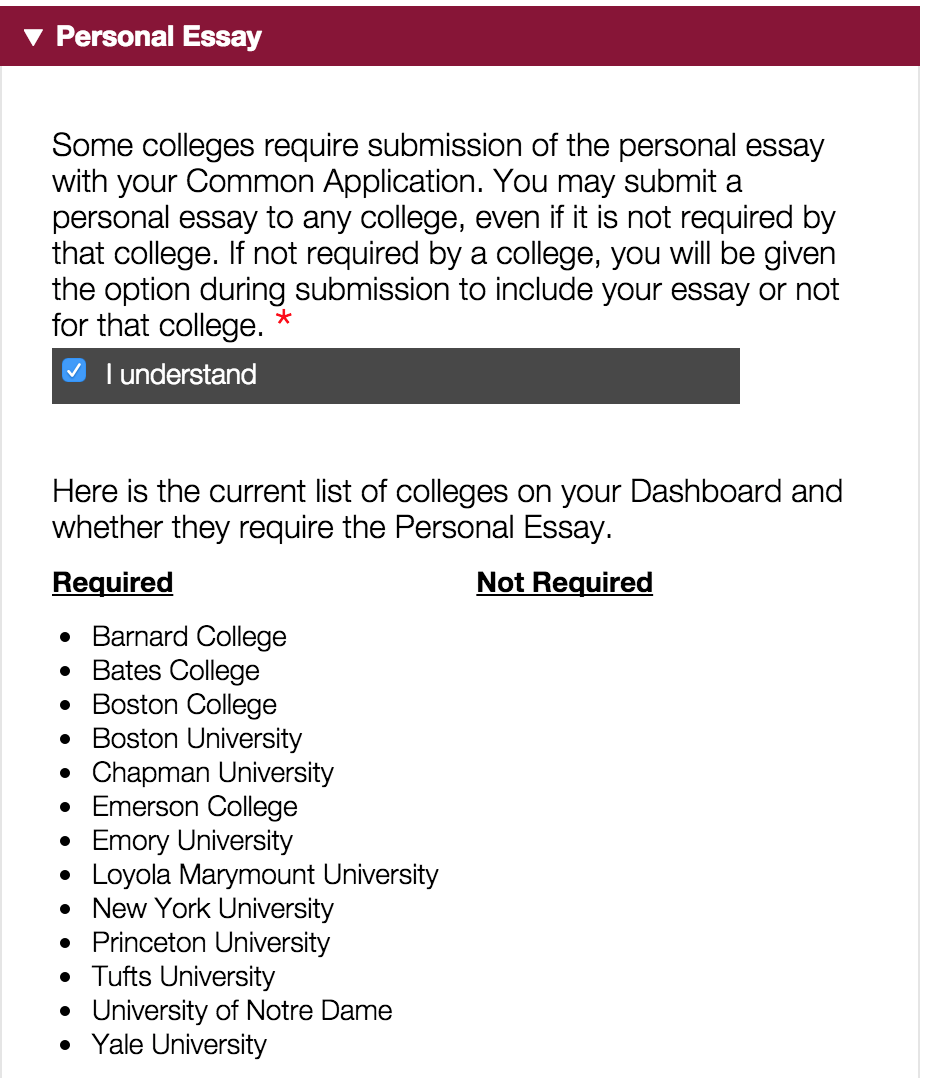 common application essays 2012