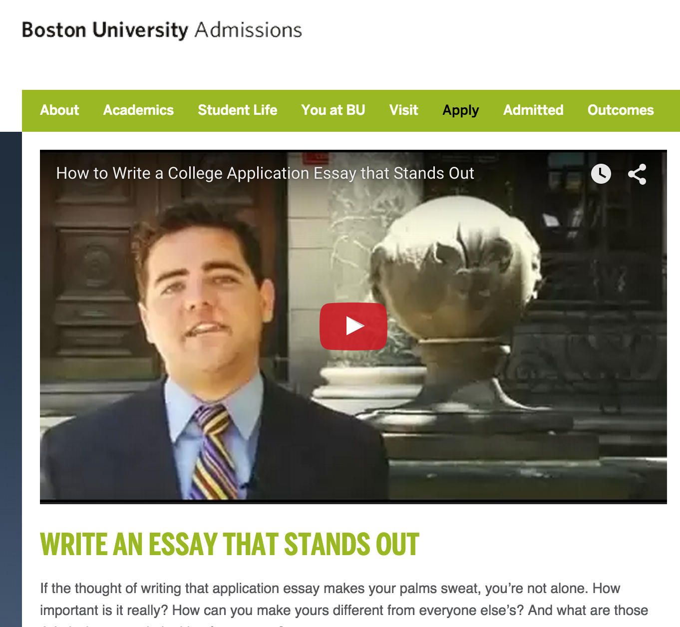 Boston university application essay